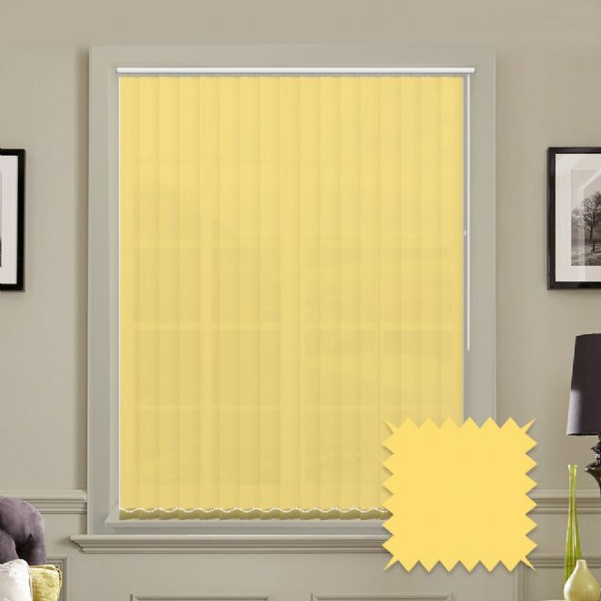 Made to measure vertical blinds in Carnival Buttercup plain fabric - Just Blinds